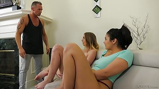 Spoiled chicks Violet Starr and the brush nasty GF are fucked by horny guy
