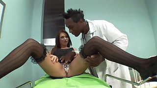 Black doctor Big Willy is checking out anal hole of naughty white chick Lindsey Olsen