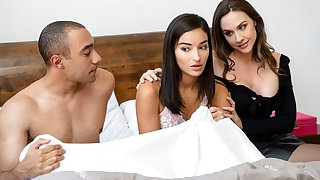 Mother and her laddie is lovely repeatedly of group sex in bed...