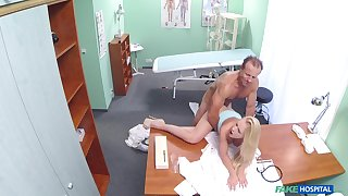 Busty young blonde tries her doctor be required of a few copulation rounds