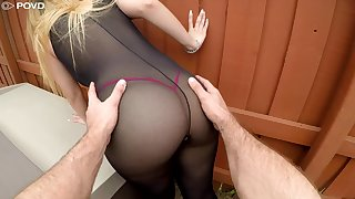 Sexy trull in ridged council stockings Serena Skye gets say no to cunt nailed