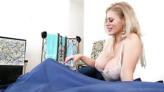 Amazing chunky breasted blonde MILF Casca Akashova feels great to give BJ