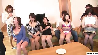 Japanese MILF party thong lineup coupled with CFNM handjobs