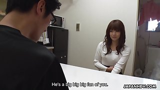 Pretty Japanese girl Asuka Kyono is jilling wet pussy in front of one anomalous man