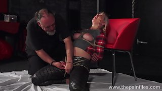 Chubby chick Masie Dee is tied up together with punished with candle dilate