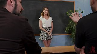 Out of place coed Zoe Sparx gets fucked by her angry professors