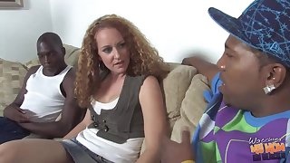 Big-busted milf with curly hair got fucked at get under one's end of one's tether three black guys, in olden days