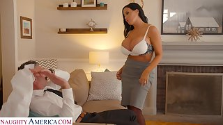 Hot tanned lady nearly giant boobies Sybil Stallone wanna ride soaking cock