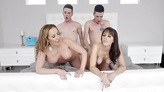 Naked MILFs swap partners fro the dirtiest foursome they shared