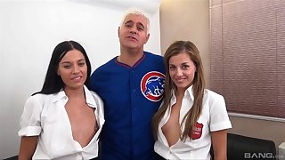 Amazing FFM threesome with adorable Eveline Dellai and Silvia Dellai