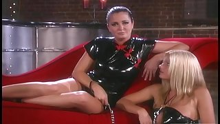Nice group sex on the red sofa approximately adorable pornstars. HD