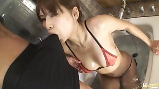 Ebullient fucking here a difficulty bathroom with a sexy Japanese wife