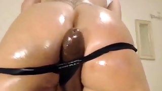 Big Wringing wet Aggravation Latina Fucks Big Inky Dildo