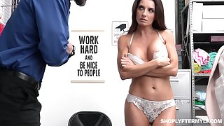 Shoplifting milf Silvia Saige gets punished -carat the table