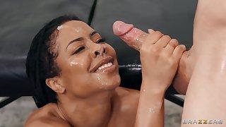 Adorable ebony model Kira Noir takes a long dick of a white dude