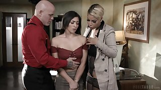 MILFie boss Bridgette B makes assistant suck cock of their wage-earner