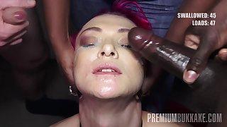 PremiumBukkake - Daniella Ray swallows 74 arrogantly mouthful cumshots