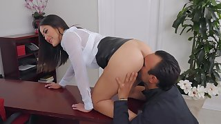 Smooth fucking in along to office with Asian boss lassie Kendra Spade