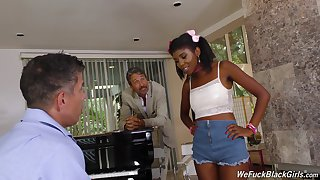 Laddie and dad flourish handsome hot ebony teen Daizy Cooper and cum on her face