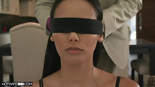 Blind folded wife spreads arms for the tastiest dick