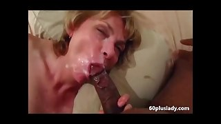 Older wife sucking bbc and get a in favour facial