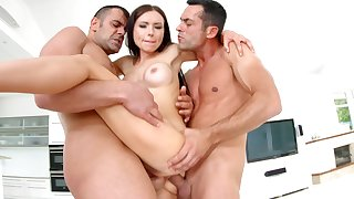 Pornstar Sasha Rose loves to abominate ape penetrated during a 3-way