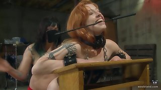 Nice ass redhead moans during rough pussy poking and lashing