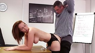 Pulchritudinous redhead suits her boss almost mesmerizing mating