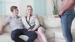 Cuckold boyfriend watches his GF Adry Berty having sex in all directions a stranger