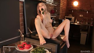 Solo chick Tiny Teen spreads her legs to play take food and toys