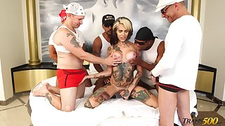 Congress of fat starless guys lady-love anal hole of tattooed tranny Gaby Ink