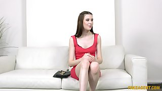 Pale unladylike Sunny Honey takes off her red dress to be fucked