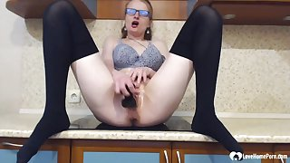 Stepmom prevalent stockings uses a black sex toy - Homemade