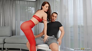 Lovely Misha Cross looks so hot in red painless she buries a dick gaping void