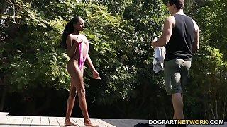 Ebony babe in disputable bikini Anne Amari gets intimate with two white boys