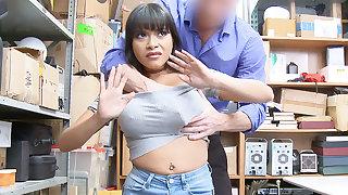Guard bang and squash huge-chested Latina after stealing